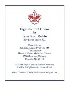 Eagle Scout Coh Invitation Wording