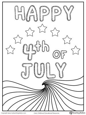 Happy 4th of July Wave Flag Coloring Page Flags, July