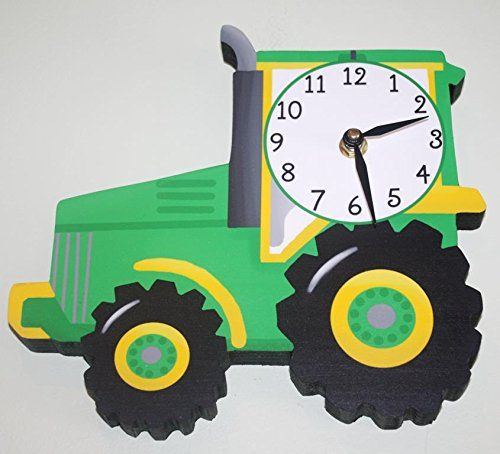 Green and Yellow Tractor Wooden WALL CLOCK for Boys Bedroom Baby Nursery WC0042 >>> For more information, visit image link.