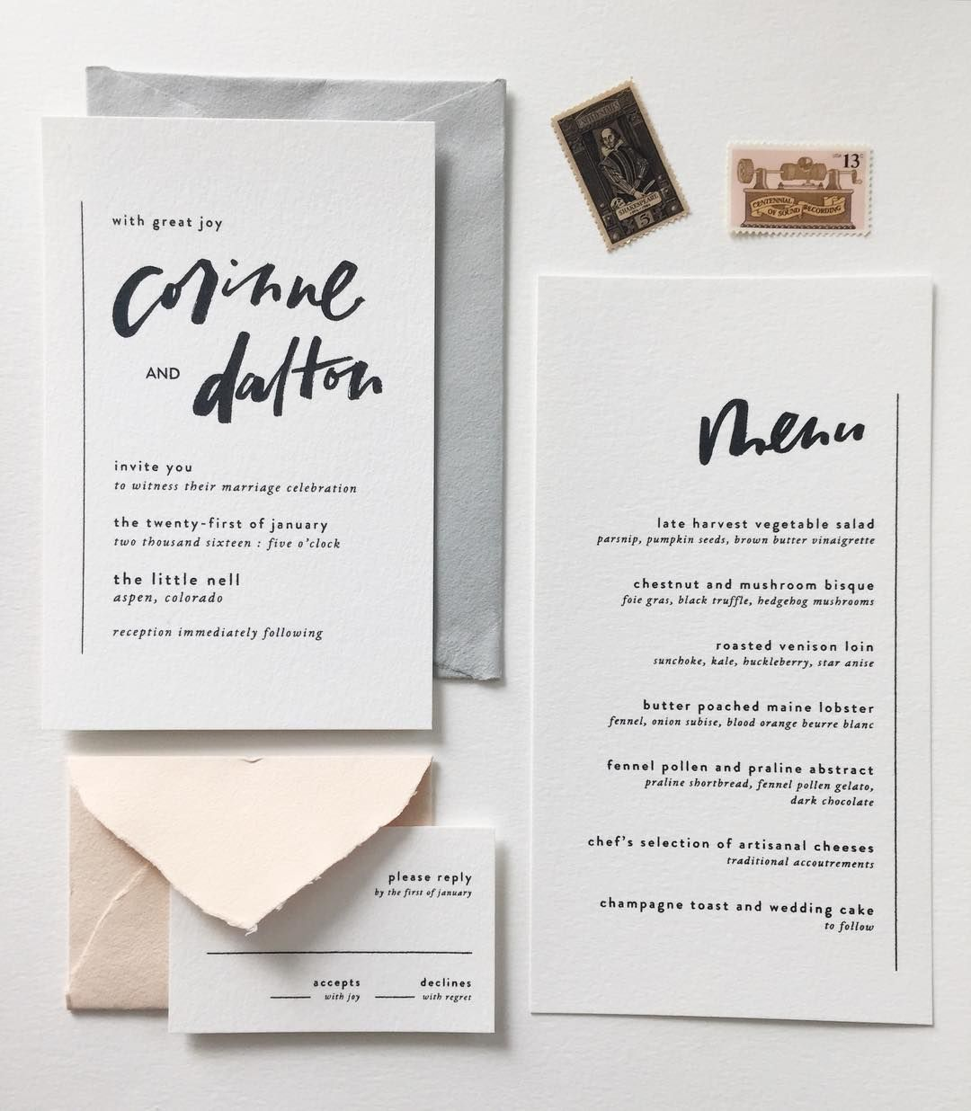 minimal invitation suite with gorgeous hand lettering