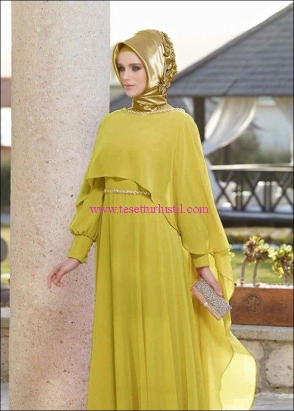 Alvina Sifon Sari Nisan Elbisesi Basortusu Modasi Musluman Modasi Moda Stilleri