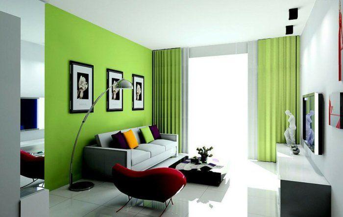 wohnzimmereinrichtung ideen farbige dekokissen grüne akzentwand