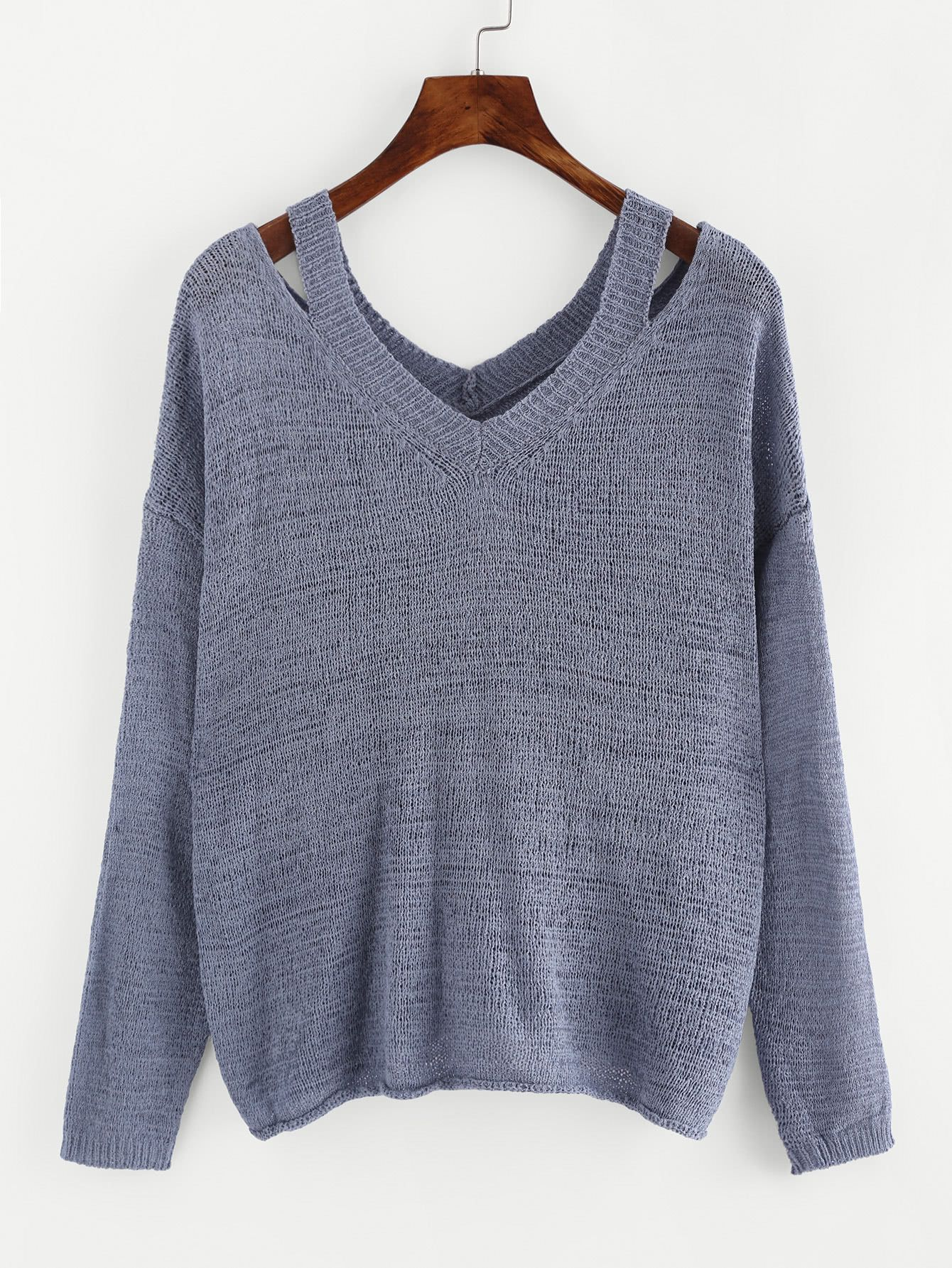 3491e1c148d Cut Out V Neckline Knit Sweater Factory - Shantou ZQ Sweater Factory ...
