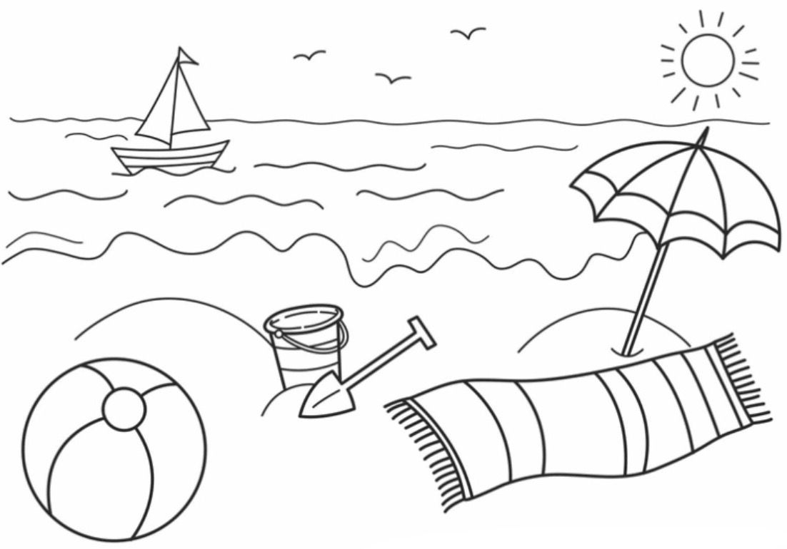 Beach Coloring Page Summer Coloring Pages Beach Coloring Pages Summer Coloring Sheets