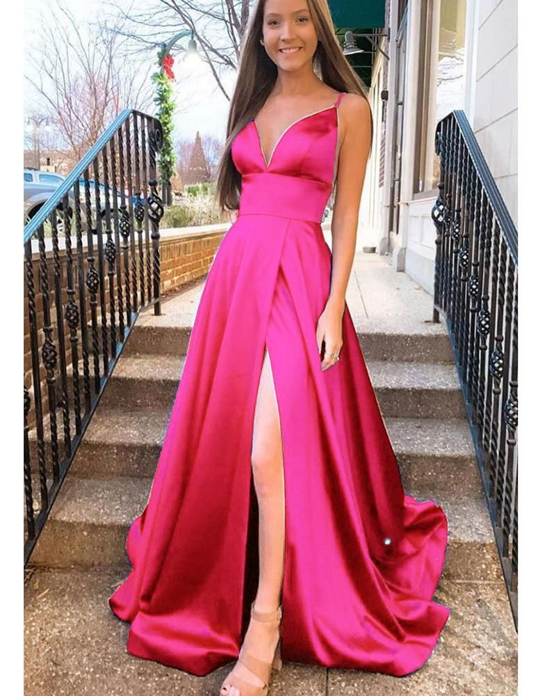 Hot Pink Long Prom Dress 2020 Senior Girls Graduation With Straps Formal Wear Outlet Lp1132 Prom Dresses Long Pink Hot Pink Prom Dress Pink Prom Dresses [ 1000 x 800 Pixel ]