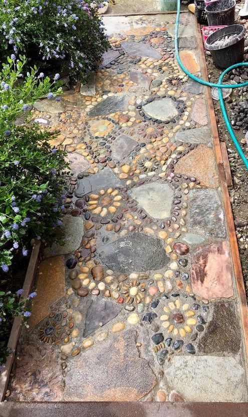 Photo of Creating A DIY Stone Mosaic Front Garden Path #gardenpaths creating a stone mosa…