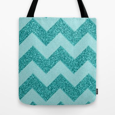 Chevron Frost Tote Bag by Alice Gosling - $18.00  ALL Tote Bags are now full bleed, printed both sides and available in 3 sizes #bag #chevron #frost #mint #blue #glitter #sparkle