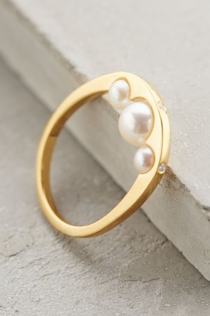 Anse Pearl Ring by Gold Philosophy - 18 ct gold, fresh water pearls, & cubic zirconium / anthropologie.com