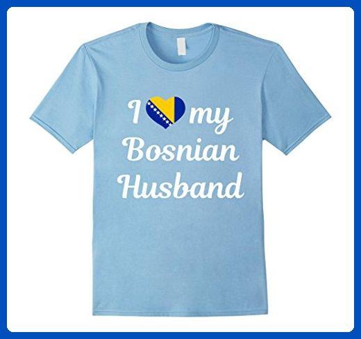 28d97d0c Mens I love my Bosnian Husband tee t shirts Bosnia flag heart Medium Baby  Blue -