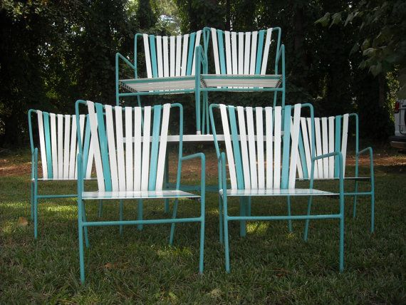 Vintage Patio Set 6 Striped Vinyl Strap Chairs By ZeeJunkHunter, $650.00