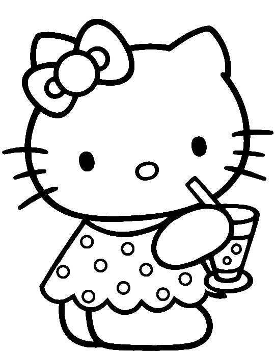 3d coloring pages by hello kids | Hello Kitty Was Drinking Delicious Coloring Page - hello ...