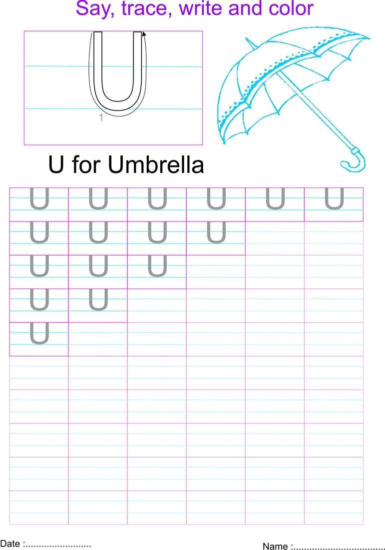 English Capital Letter U Worksheet Worksheets English Worksheets For Kids Alphabet Worksheets