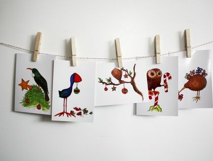Nz Native Birds Christmas Card Pack With 5 Cards Christmas Card Packs Christmas Art Christmas Cards