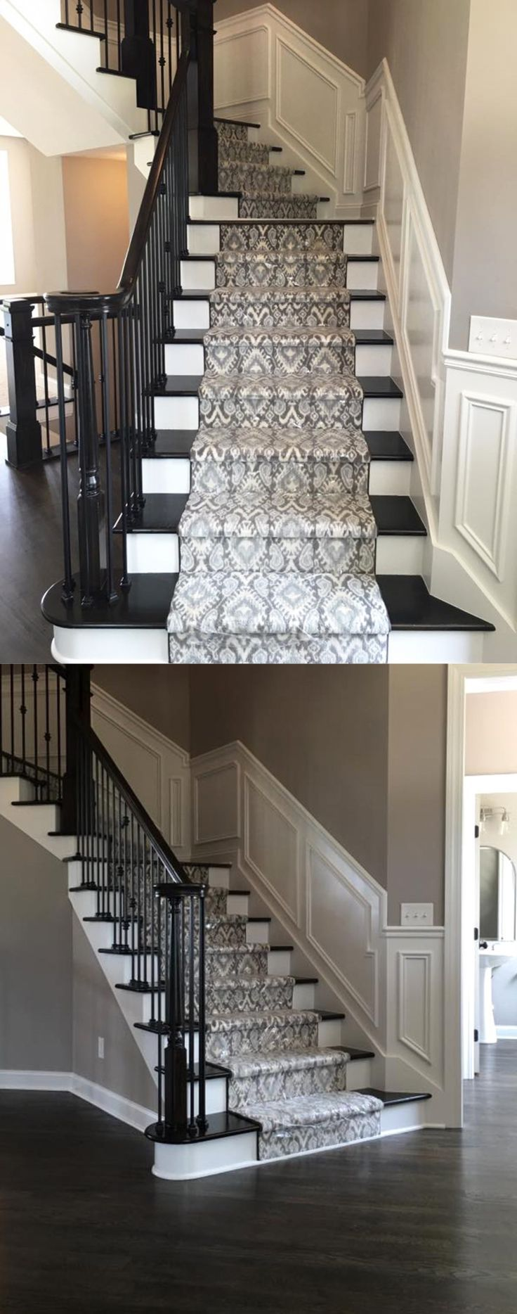 Beautiful Patterned Stair Runner on Dark Stained Stairs with Dark ...