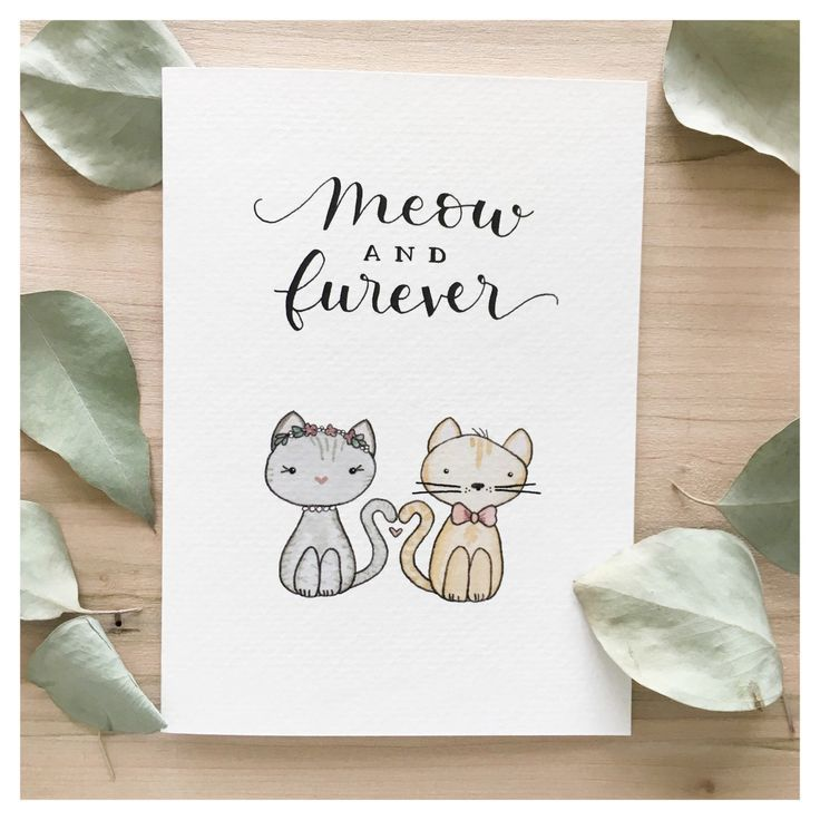 Funny Wedding Gifts For Bride: Meow And Furever // Wedding Card, Greeting Card, Card For