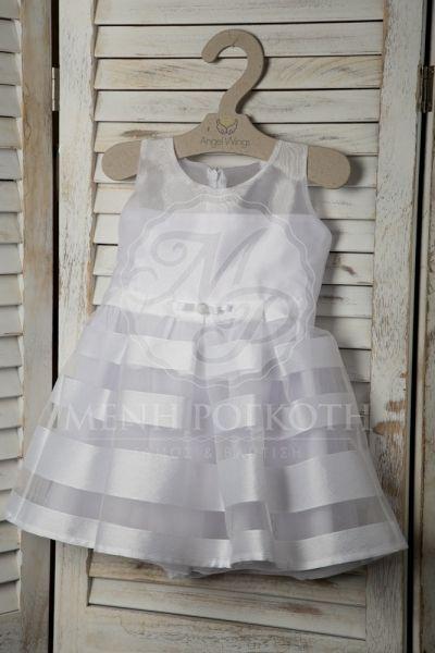 d1ee31ce7a8 Βαπτιστικά ρούχα για κορίτσι της Angel Wings φόρεμα λευκό με οργάντζα και  χιονέ σατέν ύφασμα