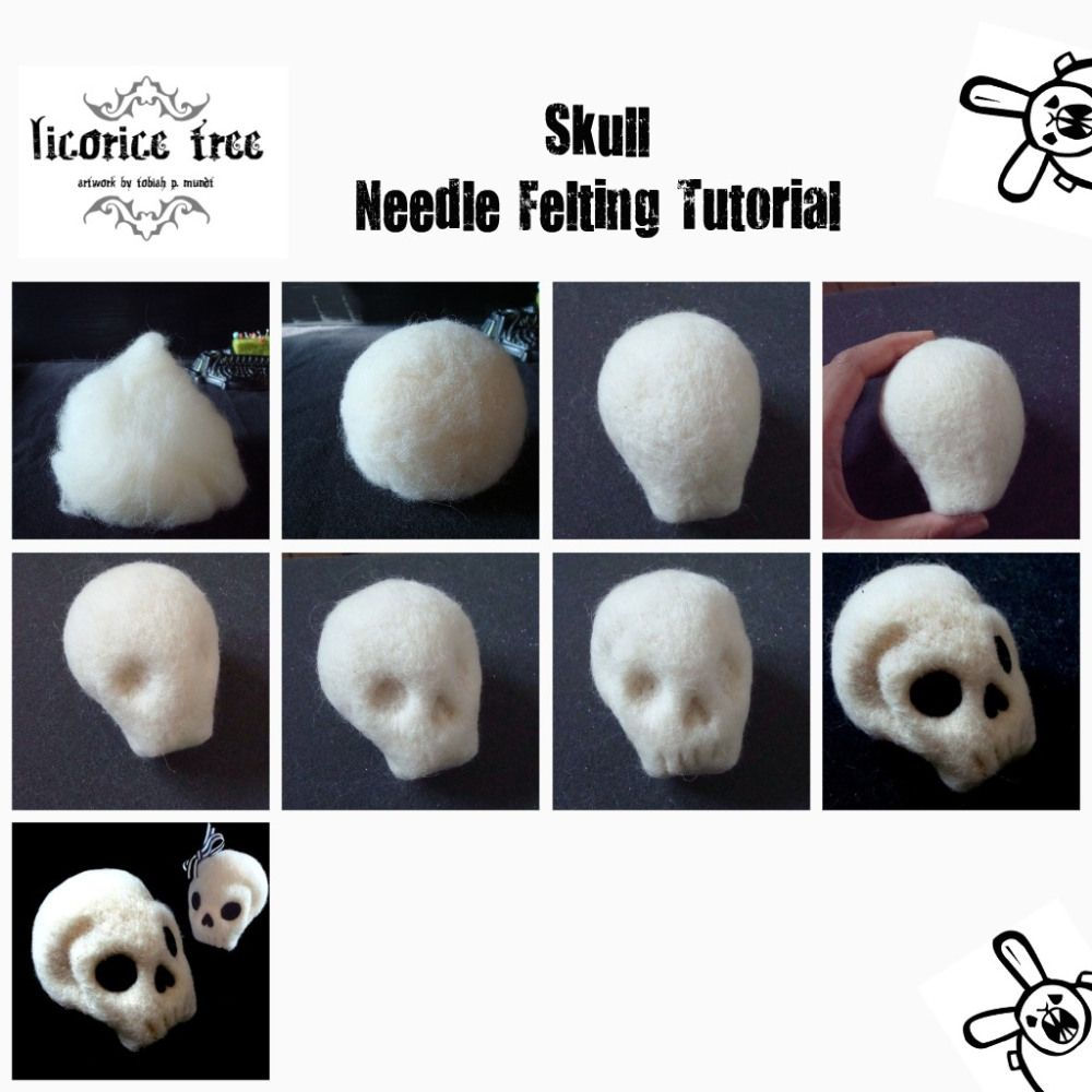 Diy Needle Felted Skull Felt Skull Needle Felting Needle Felted Cat