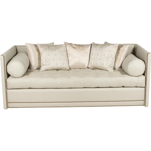 Pre Owned Tufted Sofa With Nailhead Trim ($2,995) ❤ Liked On Polyvore  Featuring