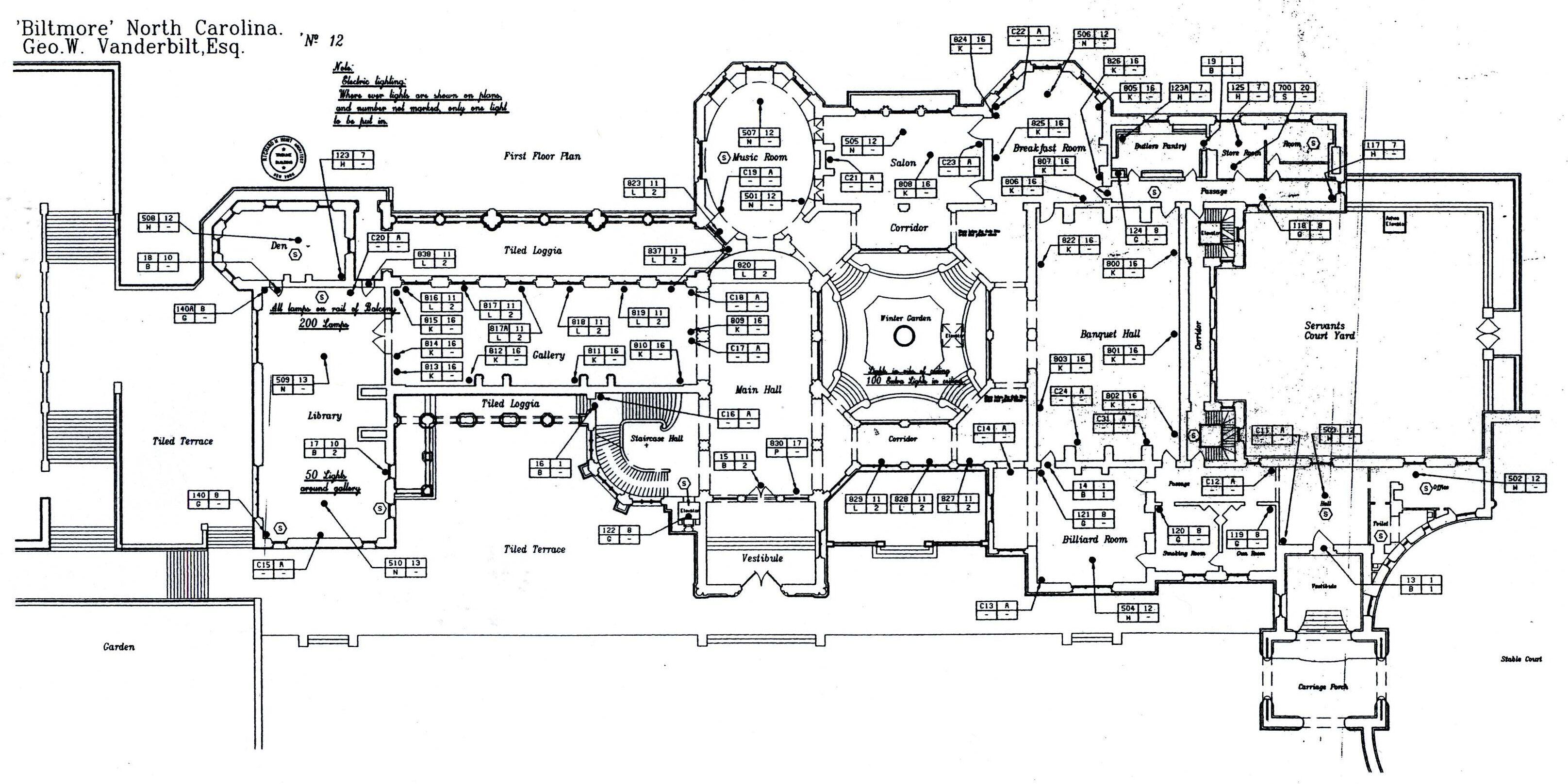 Biltmore first floor plan with lights labeled gilded era for Biltmore estate floor plan