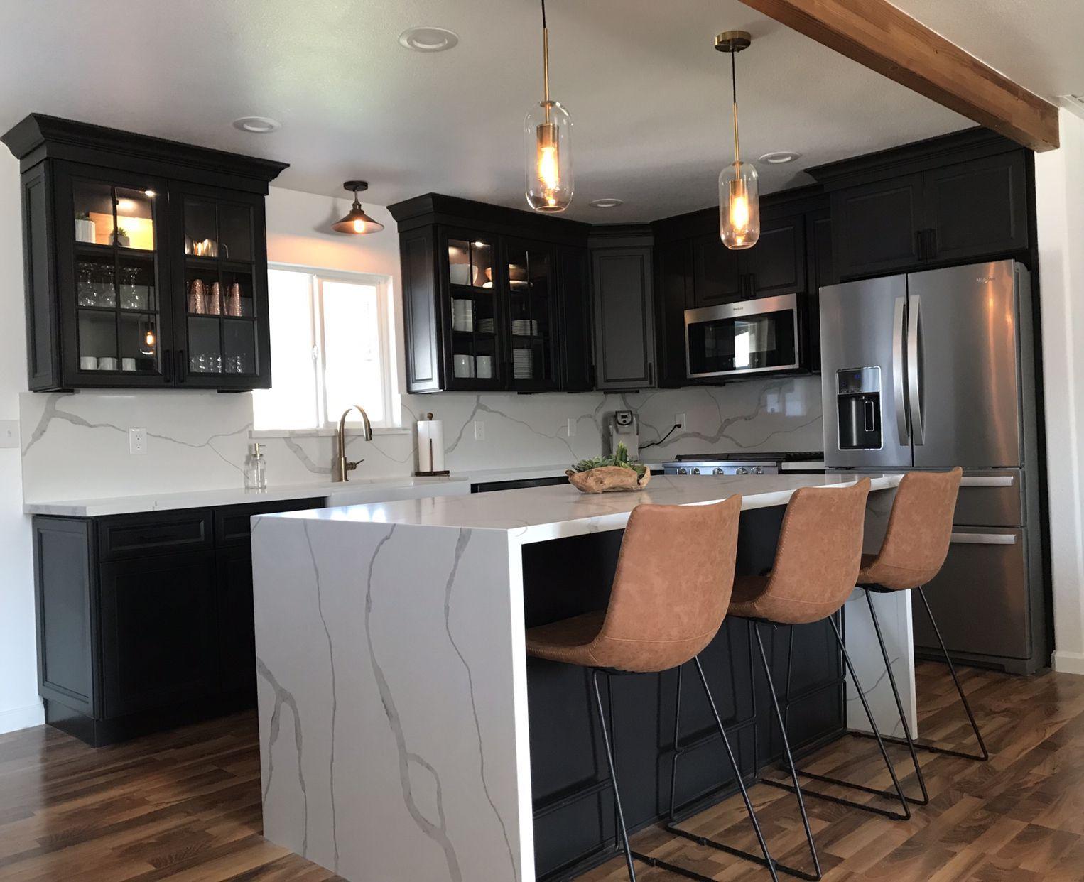 Kitchen waterfallcountertop Stone kitchen island
