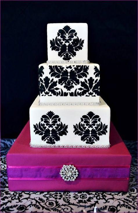 damask wedding ideas   Wedding Ideas / black and white damask wedding cake