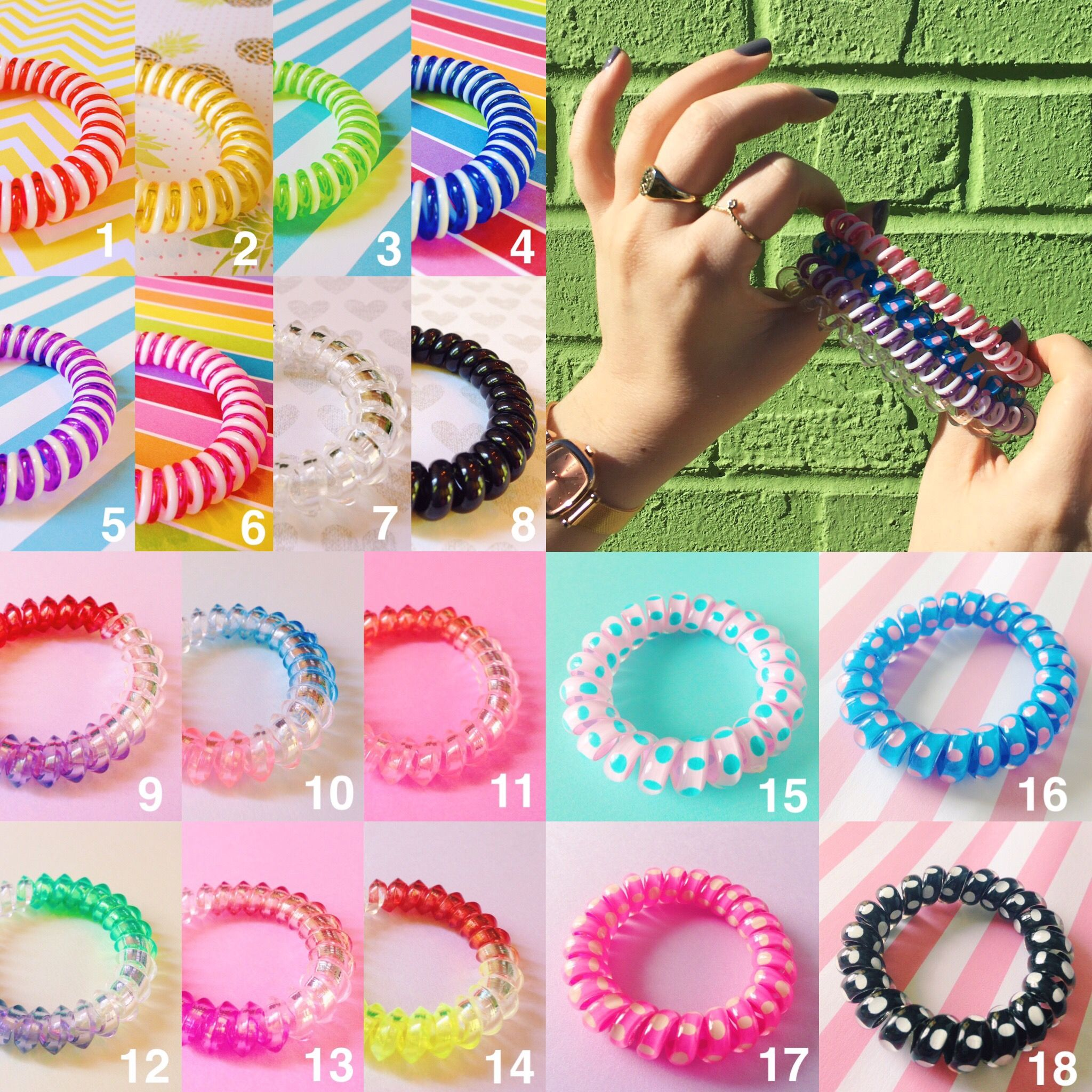 Koilhair.etsy.com colorful spiral hair bands <3