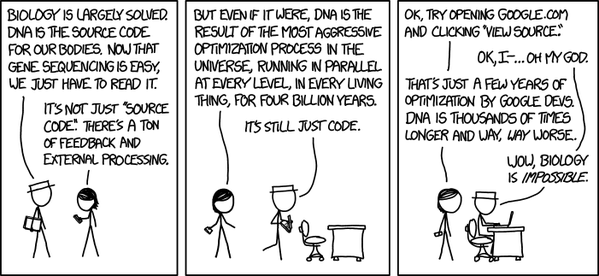 Biology is impossible by @xkcdComic @xkcd | Funny | Dna, Lab
