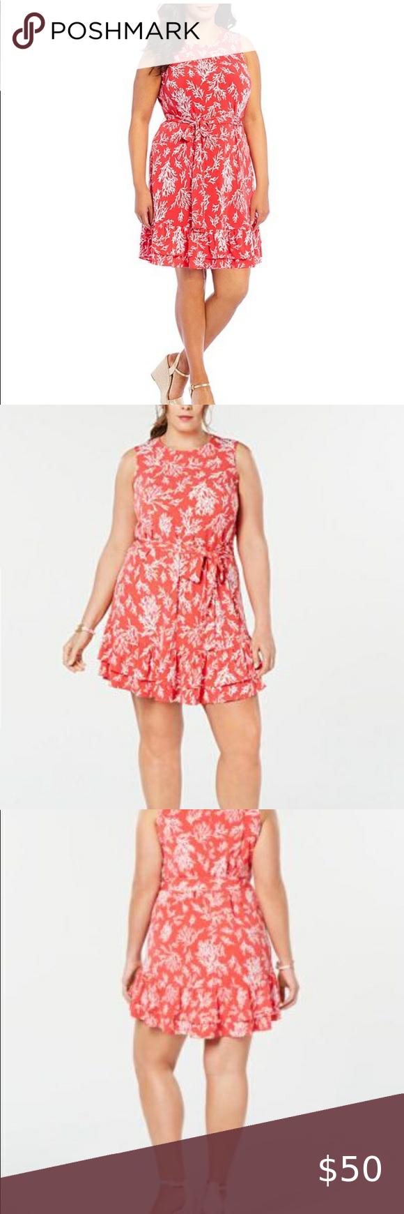 Michael Kors Reef Print Ruffle Dress Size 2x Beautiful Summer Dresses Ruffle Dress Stretchy Dress [ 1740 x 580 Pixel ]