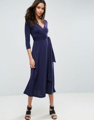 7641a0ea91695 ASOS Crepe Wrap Midi Dress   Fairy Godmother   Dresses, Asos dress ...