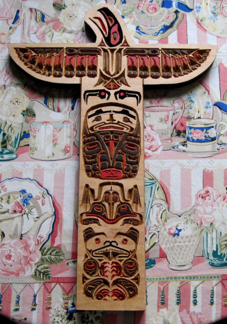 Totem Pole Deeply Wood Carved Haida Tribal Native American Art
