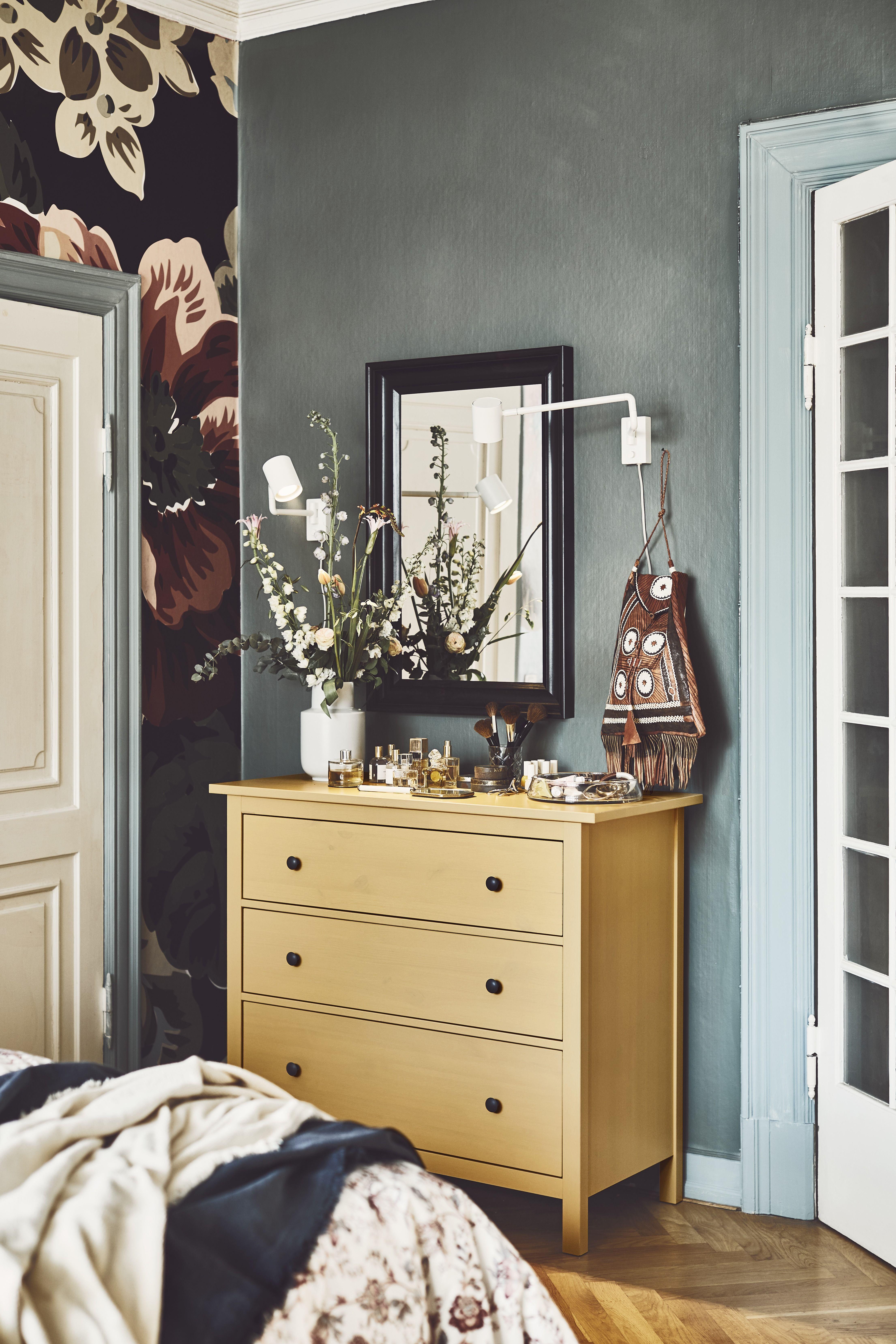 HEMNES Kommode Mit 3 Schubladen Grau Lasiert Schlafzimmer