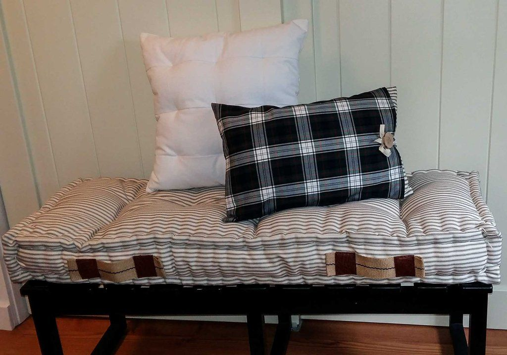 Peachy French Mattress Cushion For Bench Seat In Grey And White Ocoug Best Dining Table And Chair Ideas Images Ocougorg