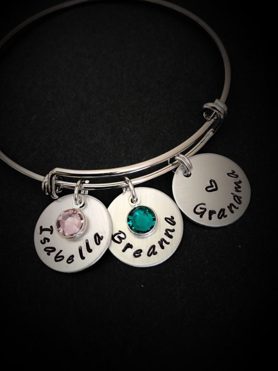 Personalized Hand Stamped Grandma Bracelet Custom Gifts For