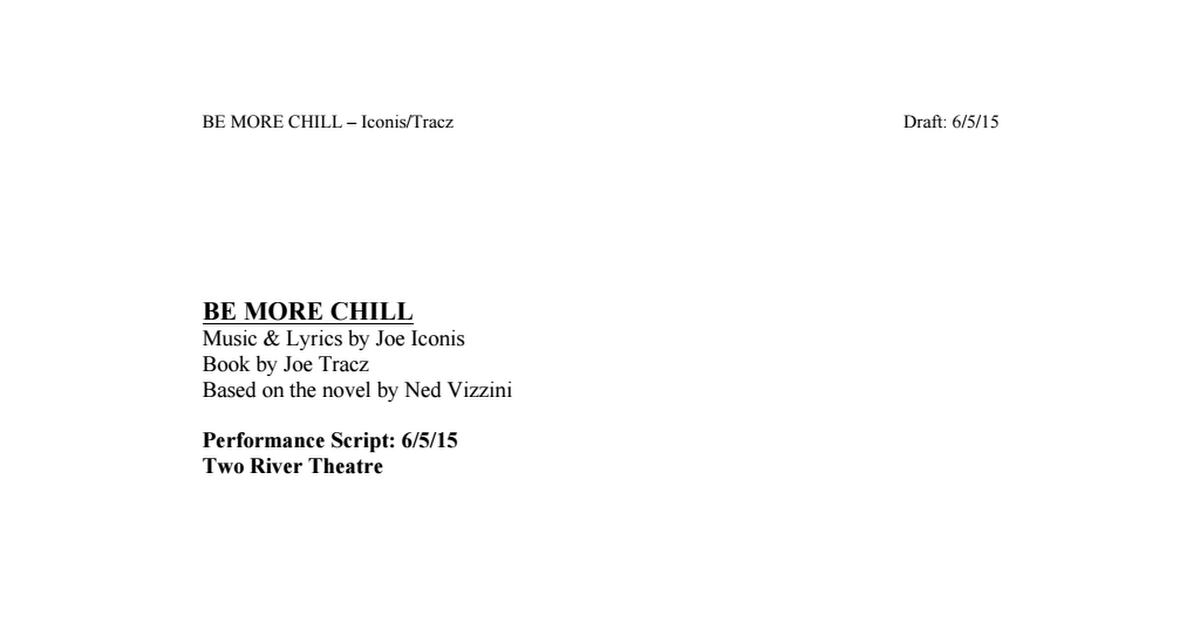 be more chill script pdf | Be More Chill | Be more chill