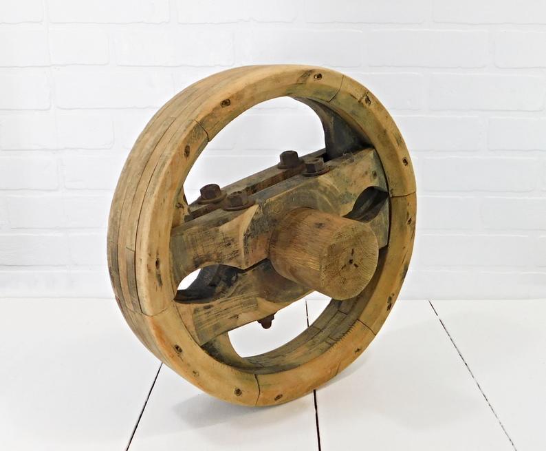 Wooden Pulley Wheel Belt Driven Machine Wheel Vintage Etsy Trong 2020
