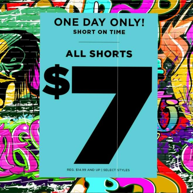 Fall is upon us, so that means we're moving out the shorts! ONE DAY ONLY! ALL SHORTS FOR GUYS & GIRLS ARE $7! #rue21 #fashion #fragrance #accessories #shorts #dontmissout