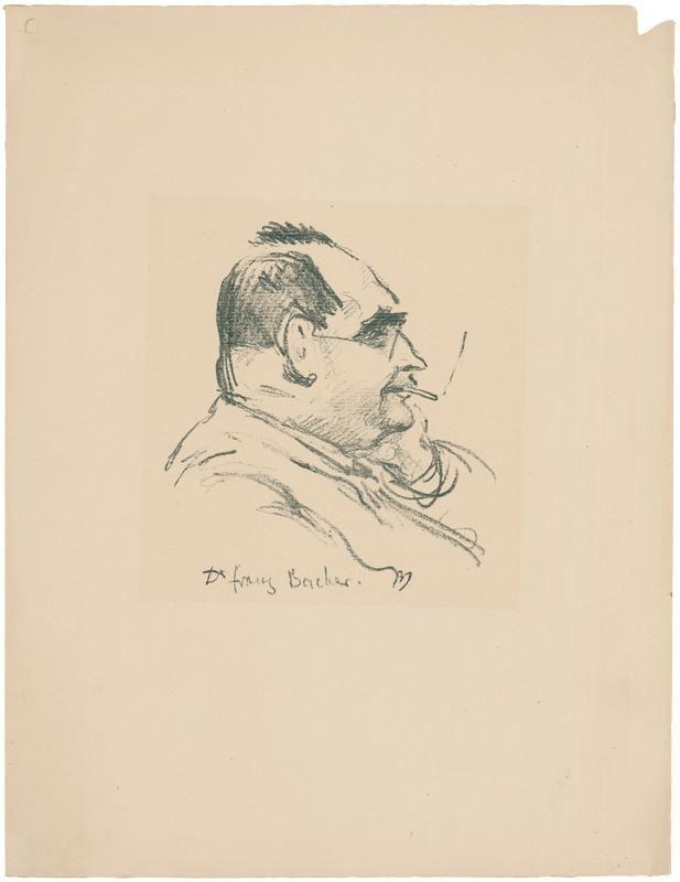 Dr. Franz Bacher, Büste im Profil nach rechts mit Zigarette. von Orlik, Emil (1870 Prag – Berlin 1932): - Galerie Joseph Fach GmbH