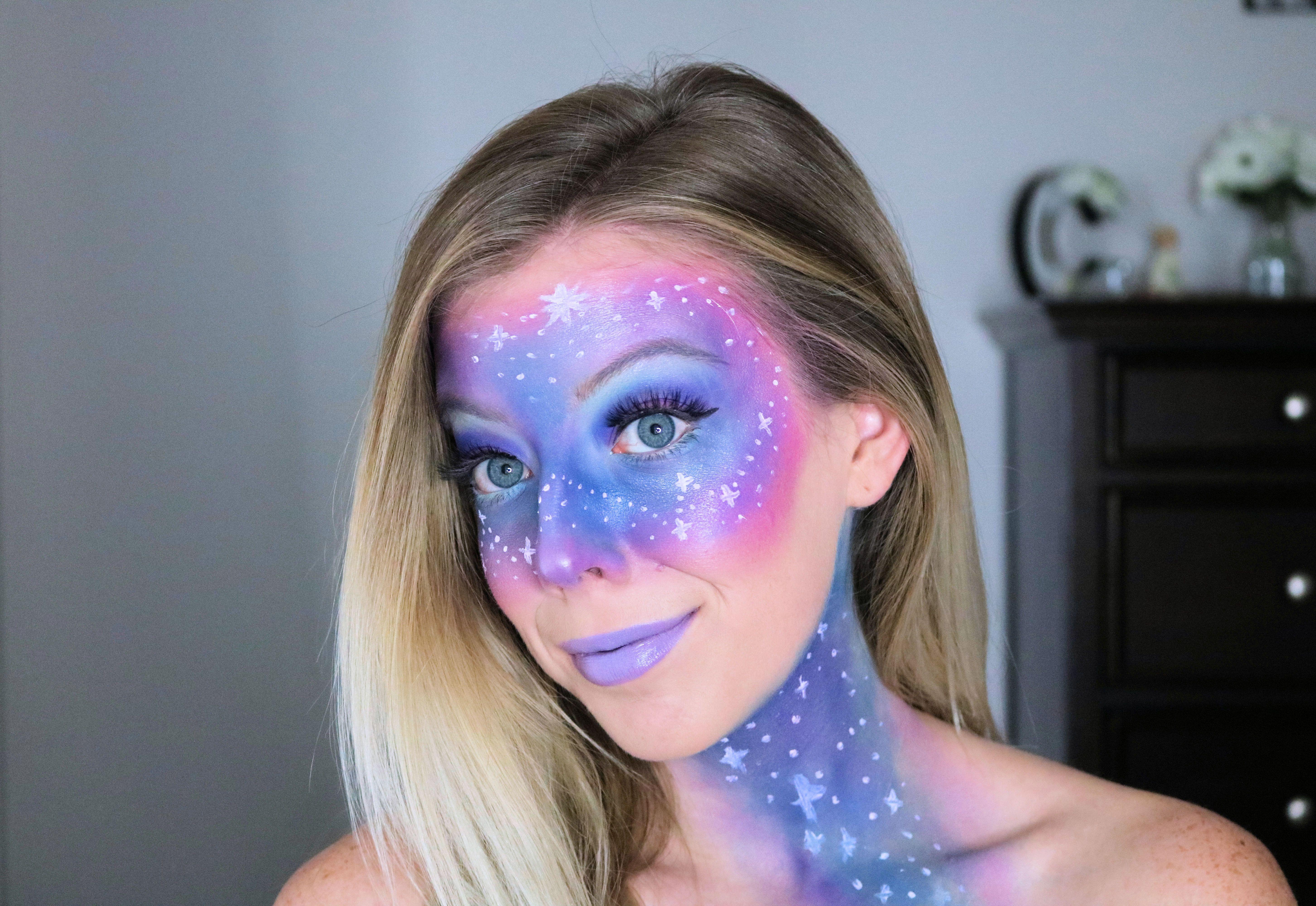 Easy Galaxy Makeup Tutorial For Halloween Galaxy Makeup Halloween Makeup Looks Halloween Makeup Pretty
