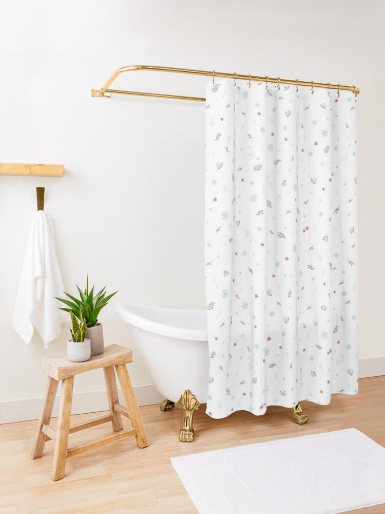 Winter Tale Botanicals Shower Curtain By Liis Roden Patterned Shower Curtain Green Shower Curtains Blue Shower Curtains