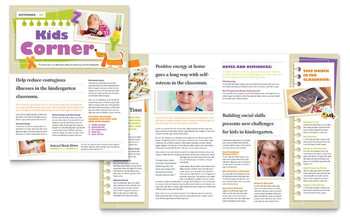 Kindergarten Newsletter Template Design by StockLayouts - free school newsletter templates for word