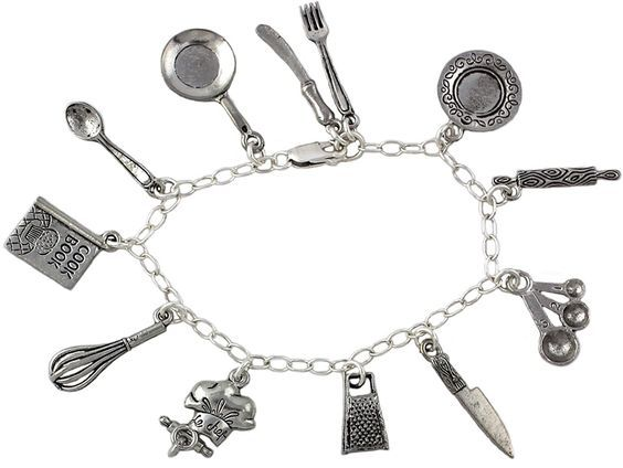 Chef Charm Bracelet - Pewter Cooking and Baking Themed Charms on a Sterling Silver Chain - Sizes XS S M L XL XXL -- Check out the image by visiting the link.
