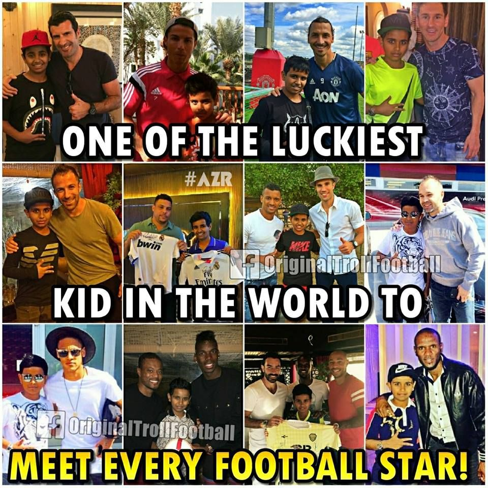 He Is Just 16 Years Old And Already Has Met All The Football Legends And Many Young Football Stars Too Football Jokes Funny Football Memes Funny Soccer Memes