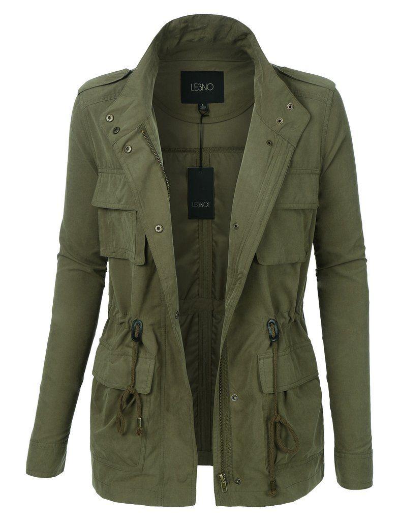 Womens Lightweight Stand Collar Utility Safari Military Jacket ...
