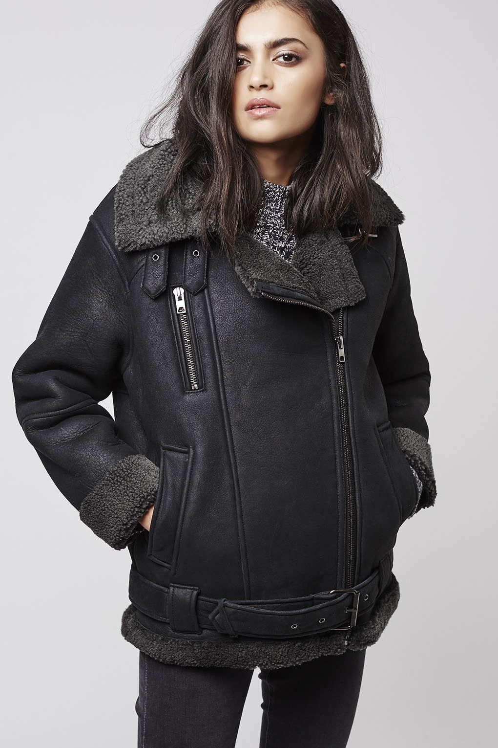 This Premium Shearling Biker Jacket is perfect for
