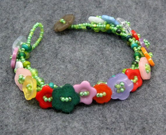 Beaded Bracelet  Button Embellished  Flower by randomcreative, $23.00