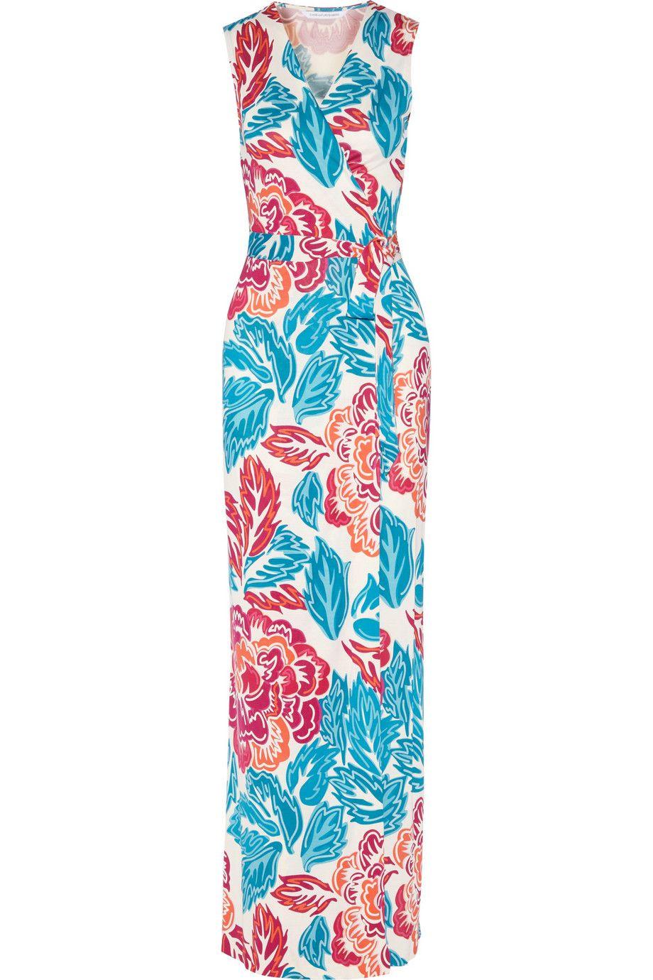 9ed19f2fc45 DIANE VON FURSTENBERG New Yahzi Two Printed Silk-Jersey Wrap Maxi Dress.   dianevonfurstenberg  cloth  dress