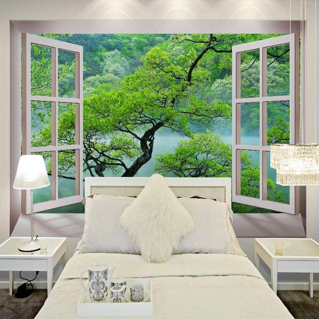 Free Shipping 3D Fake Windows Tree Landscape Wallpaper Mural Bedroom Modern Restaurant Decorated
