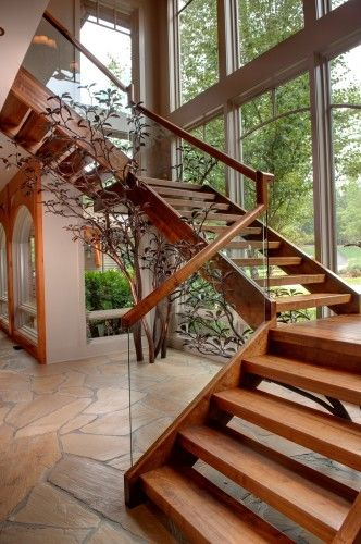 Glass/wood Banister , Open Treads Apple Farm   Modern   Staircase   Atlanta    Moon Bros Inc Great Pictures