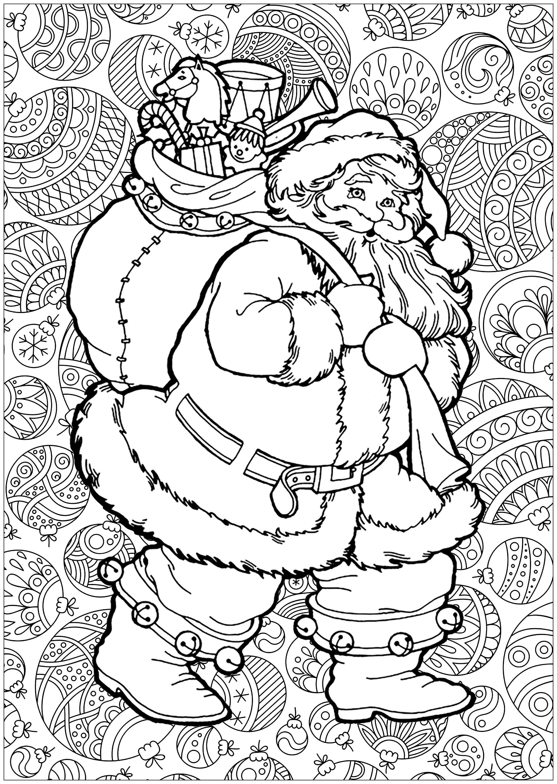 Santa Claus With Background Christmas Coloring Pages For Adults