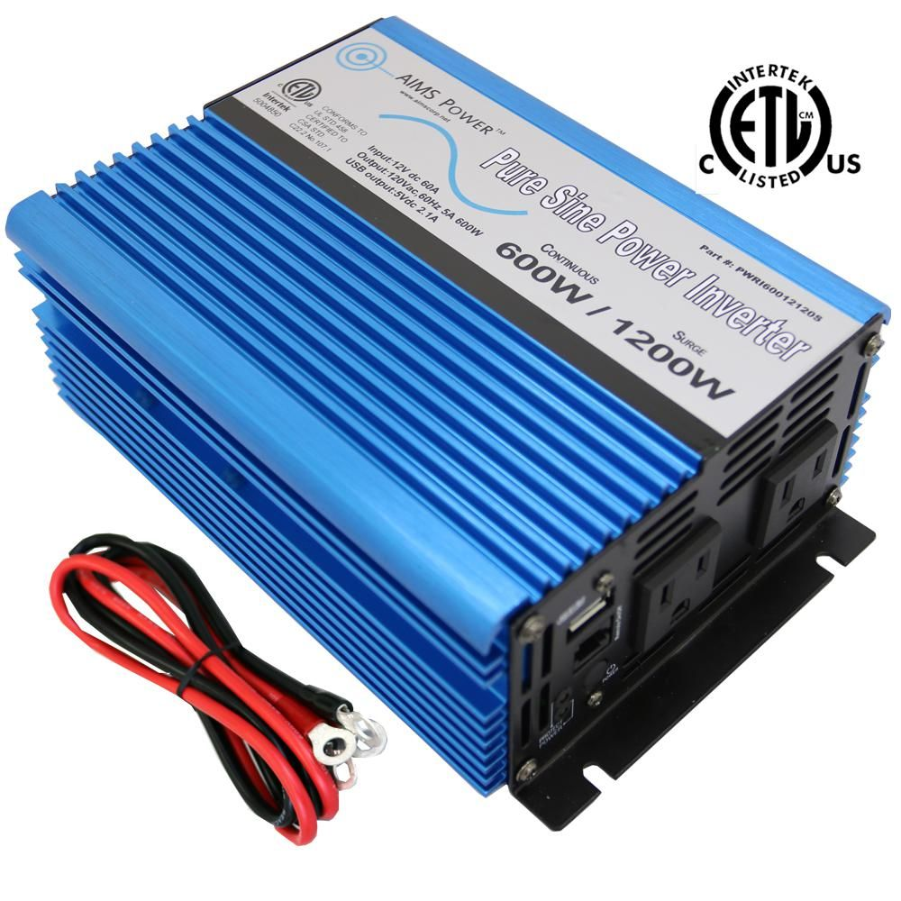 Aims Power 600 Pure Sine Inverter 12 Volt Dc To 120 Volt Ac Etl Listed To Ul 458 Pwri60012120s The Home Depot In 2020 Pure Products Power Inverters Power